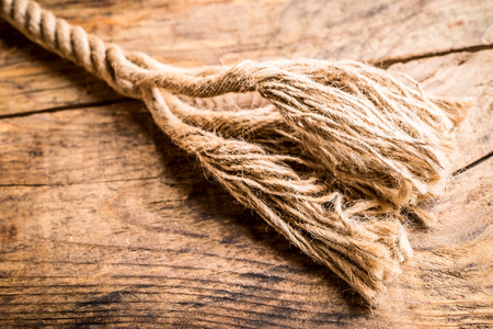 frayed: frayed hemp rope