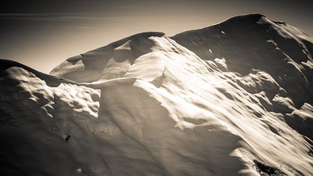 beautiful wintry mountain landscape - black and white photo hd format