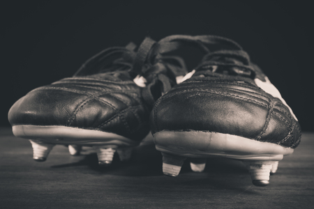 soccer shoes: soccer shoes- black and white photo
