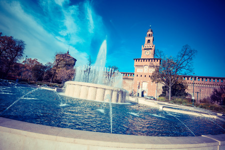Milan city bridge monuments and places Sforza Castle - vintage style photo Editorial