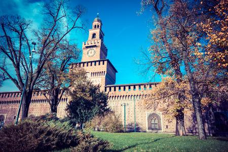 strives: Milan city bridge monuments and places Sforza Castle - vintage style photo Editorial