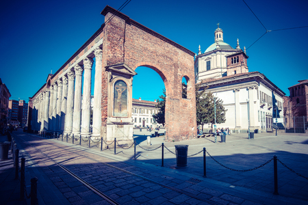lawrence: Milan city monuments and places saint Lawrence basilica - vintage style photo