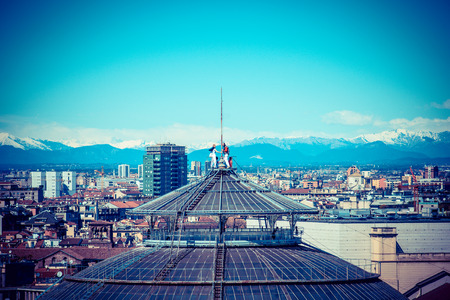 vittorio emanuele: Milan city monuments and places Galleria Vittorio Emanuele from Duomo - vintage style photo