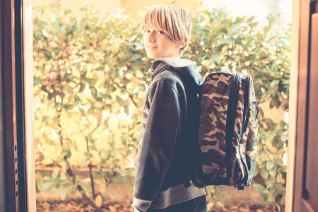 ordinary: an ordinary day - schoolboy go to school Stock Photo
