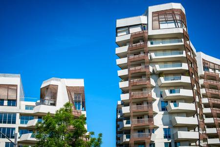 MILAN, ITALY - MAY 04 2016: Milan CityLife residential buildings near Allianz Tower designed by architects Arata Isozaki