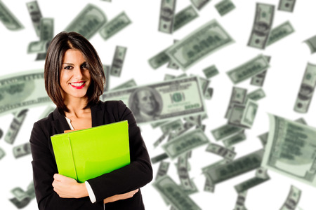 earn money: young executive woman earn money Stock Photo