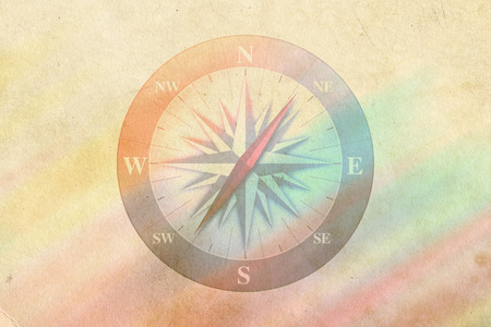 compass - rainbow colored vintage style