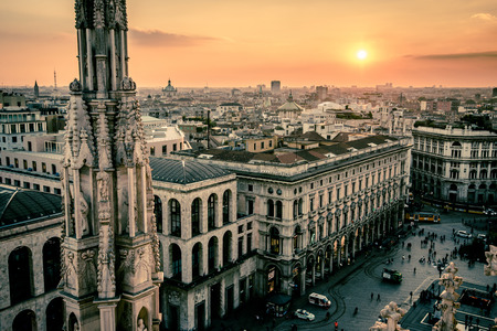 view of Milan city from Duomo roof terrace at dusk 版權商用圖片
