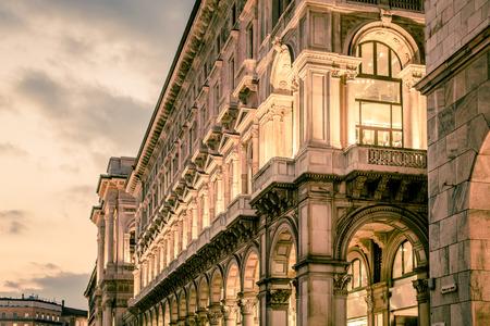view of Milan city Piazza Duomo at dusk 版權商用圖片
