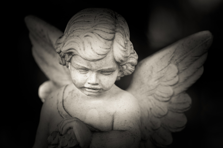 guardian angel - black and white photo