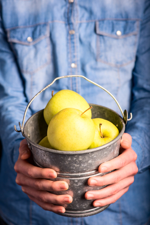 apples bucket in hands - vegetarian and vegan people photo