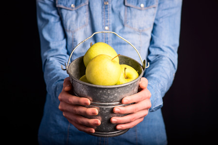 apples bucket in hands - vegetarian and vegan people