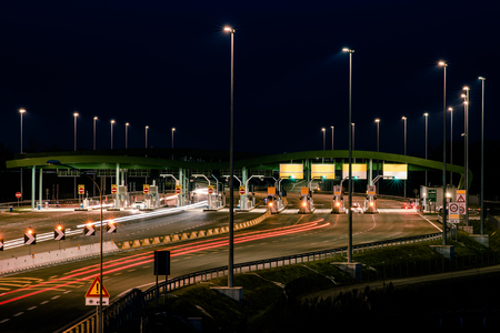 highway toll booth at night