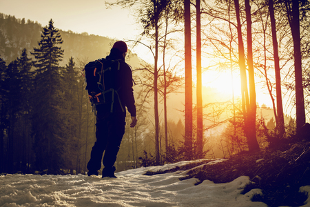 back home at sunset - wanderlust travel concept excursion in wild nature - outdoor activity Alps Italy