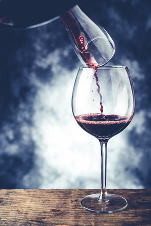 red wine glass and decanter - fine wine tasting concept