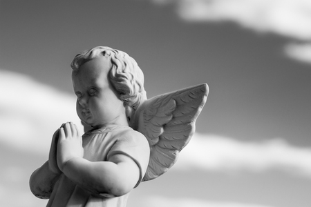 little angel - black and white photo religious icons