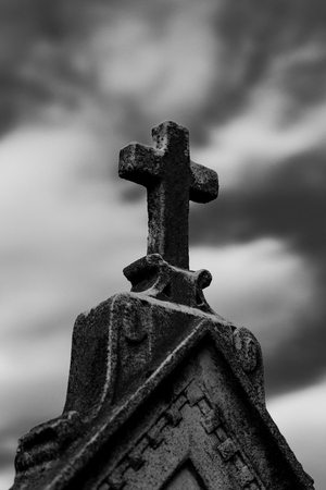 tombstone cross - black and white photo religious icons