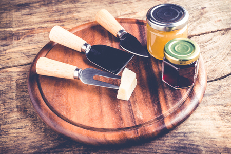 onions wine tomatoes jams - set of tools and jam for cheese tasting - italian food