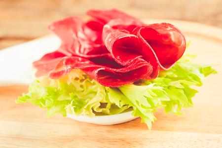 italian bresaola prosciutto -typical food made of cow meat of the Valtellina Lombardia Italy 版權商用圖片