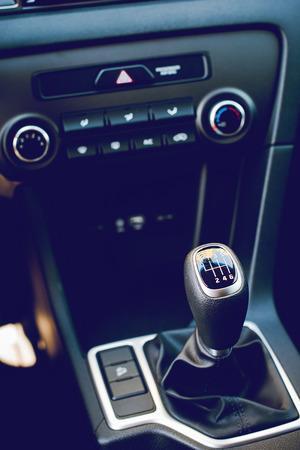 interior of modern car dashboard - car gear shift stick