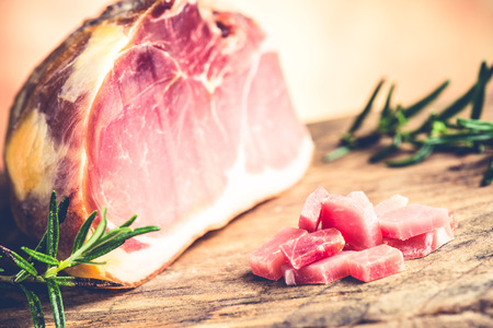 Italian ham - typical food made of pork meat in Italy