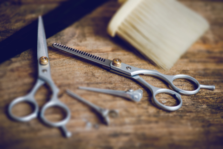 hairdresser tools - tilt shift effect photo