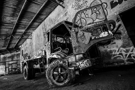 Abandoned van wreck - black and white image