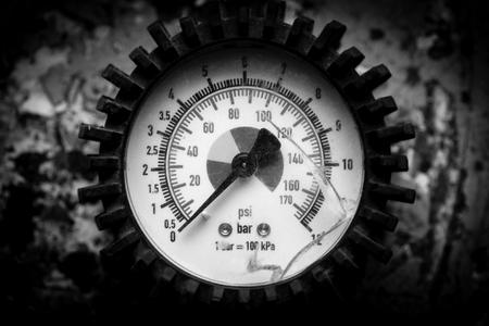 broken pressure gauge - black and white image