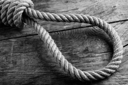 gallows noose knot - black and white image 版權商用圖片