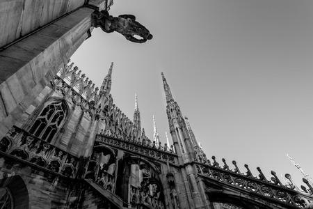 Milan Duomo detail - black and white image 新聞圖片