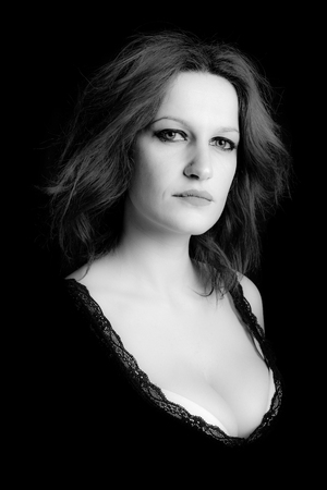 portrait of dominant woman - black and white image