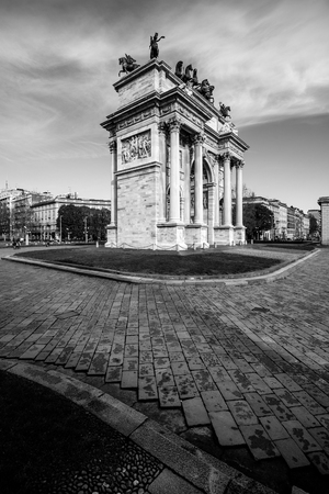 Milan Arco della Pace - arch of peace - black and white image
