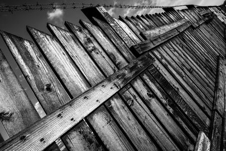 fence - black and white image