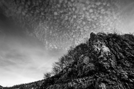 rocks and clouds - black and white image