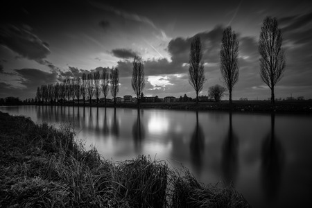 countryside canal - black and white image