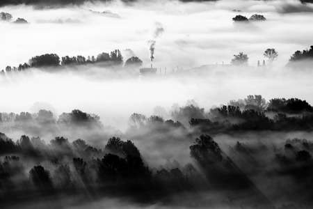 factory in the fog - black and white image 版權商用圖片 - 98921767
