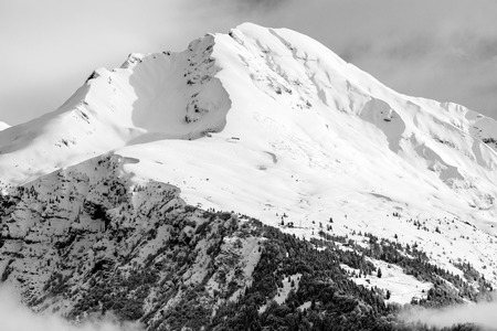 beautiful winter peak - black and white image