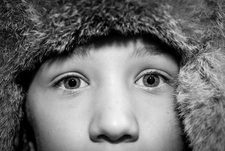 child eyes - black and white photo