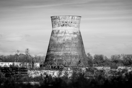 old cooling tower - black and white image