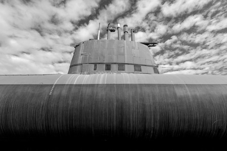 old  submarine - black and white image 新聞圖片