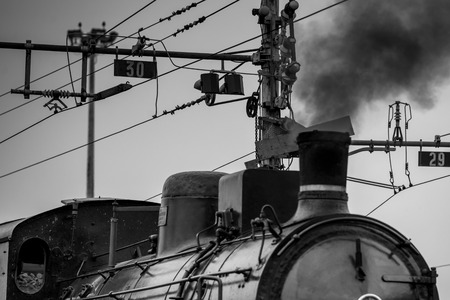 old steam train - black and white image 版權商用圖片