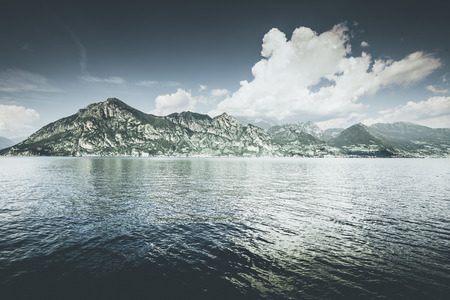 beautiful lake landscape - Iseo lake italy  spring mood - desaturated style image 版權商用圖片