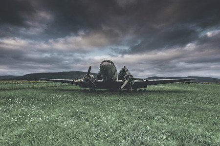 abandoned war plane in a field