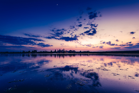 beautiful sunset on the lake - Mantua Italy