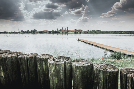 cityscape skyline on the lake - Mantua Italy