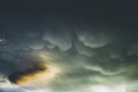 mammatus clouds in a gloomy day