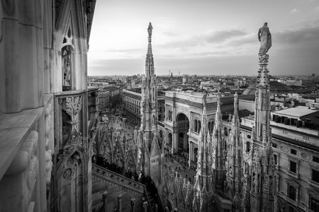 Galleria Vittorio Emanuele view from Duomo rooff terrace Milan Italy - black and white image