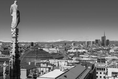 Milan Duomo roof terrace view Italy - black and white image