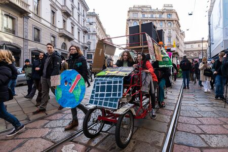 Milan, Italy - November 29: Fridays for Future strike protest, the students strike for the global environmental policy.