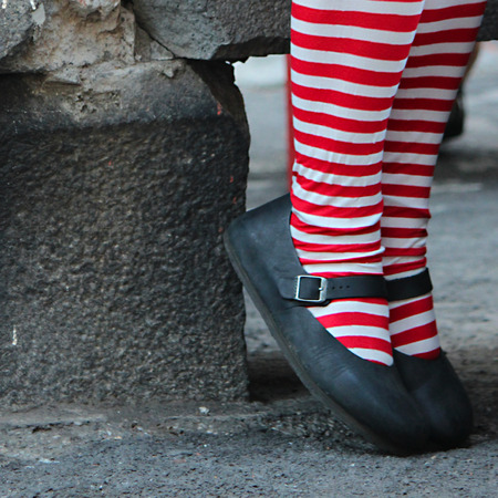 a woman whit striped pantyhose photo